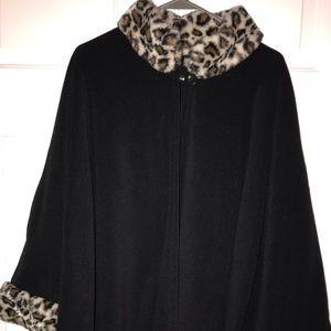 Leopard print black poncho